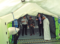 Hughes officials giving a demonstration of the shelters and systems at the Dubai Civil Defence HQ